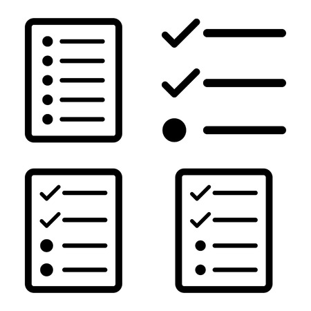 todo: List vector icons. Style is black flat symbols on a white background. Illustration