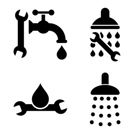 sanitary engineering: Plumbing Tools vector icons. Style is black flat symbols on a white background. Illustration