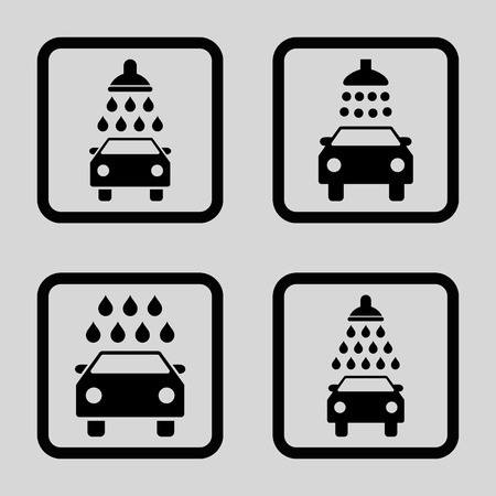 disinfectant: Carwash vector icon. Image style is a flat icon symbol inside a square rounded frame, black color, light gray background. Illustration