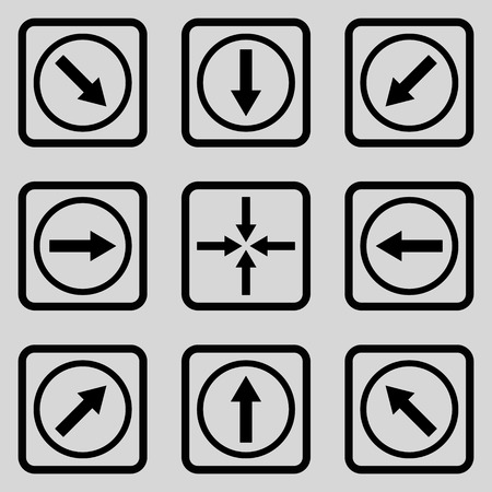 redirect: Direction Arrows vector icon. Image style is a flat icon symbol inside a square rounded frame, black color, light gray background. Illustration