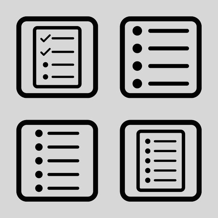 numerate: List Items vector icon. Image style is a flat icon symbol inside a square rounded frame, black color, light gray background.