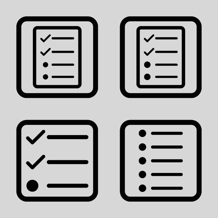 enumerate: List Items vector icon. Image style is a flat icon symbol inside a square rounded frame, black color, light gray background.