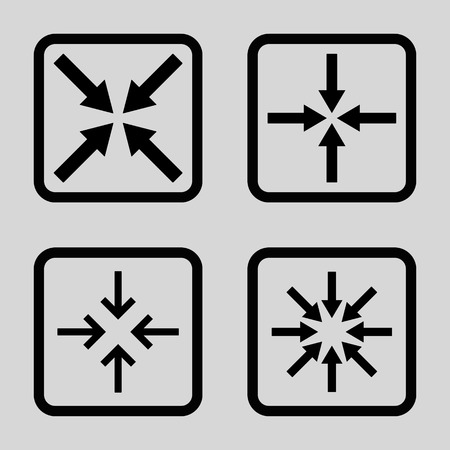 implode: Meeting Point vector icon. Image style is a flat icon symbol inside a square rounded frame, black color, light gray background.