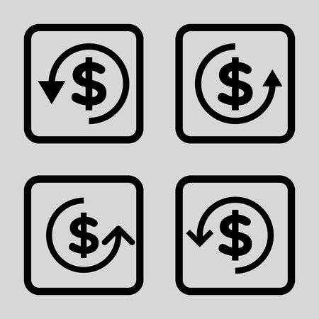 moneyback: Refund vector icon. Image style is a flat icon symbol inside a square rounded frame, black color, light gray background.