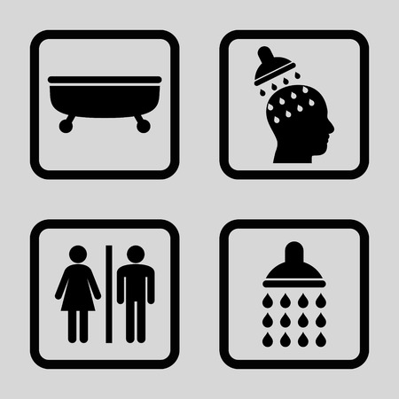 sanitary: Sanitary vector icon. Image style is a flat icon symbol inside a square rounded frame, black color, light gray background.