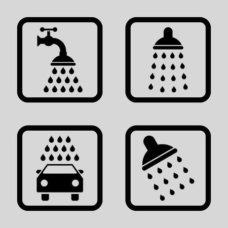 disinfection: Shower vector icon. Image style is a flat icon symbol inside a square rounded frame, black color, light gray background.