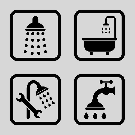 disinfectant: Shower vector icon. Image style is a flat icon symbol inside a square rounded frame, black color, light gray background.