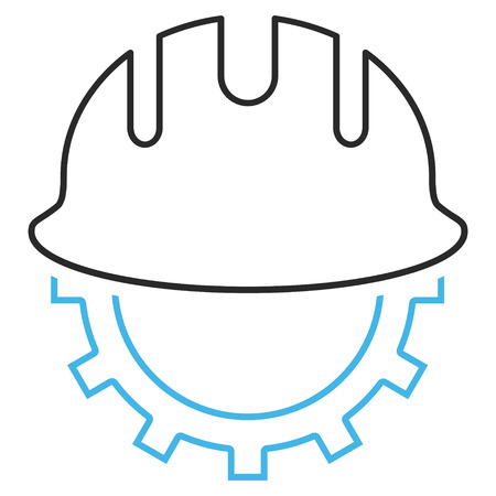 hardhat: Development Hardhat vector icon. Style is outline bicolor flat icon symbol, blue and gray colors, white background.