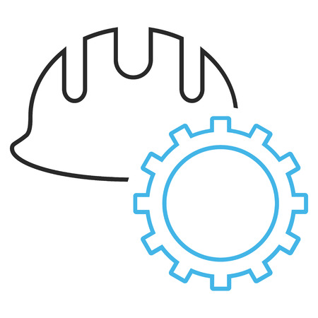 hardhat icon: Development Hardhat vector icon. Style is linear bicolor flat icon symbol, blue and gray colors, white background.