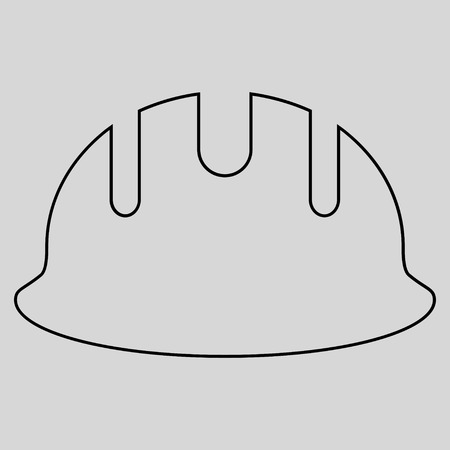 hardhat: Builder Hardhat glyph icon. Style is stroke flat icon symbol, black color, light gray background.