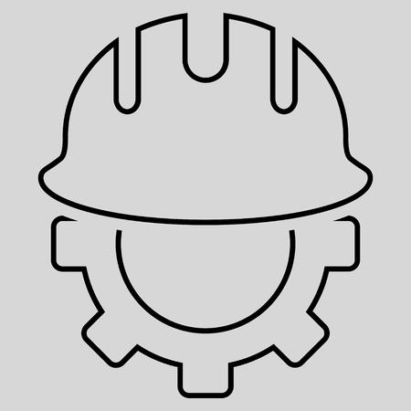 hardhat: Development Hardhat glyph icon. Style is stroke flat icon symbol, black color, light gray background.