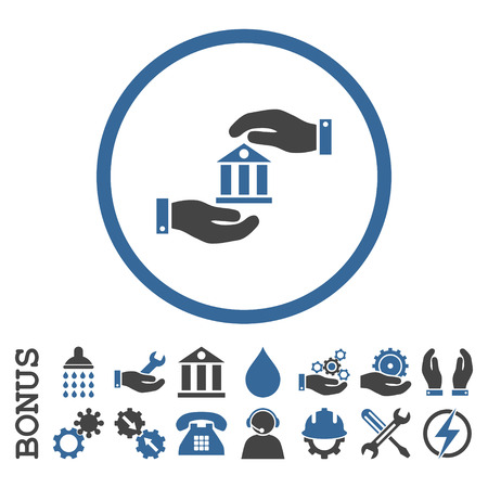 cobalt: Bank Service vector bicolor icon. Image style is a flat pictogram symbol inside a circle, cobalt and gray colors, white background. Bonus images are included. Illustration