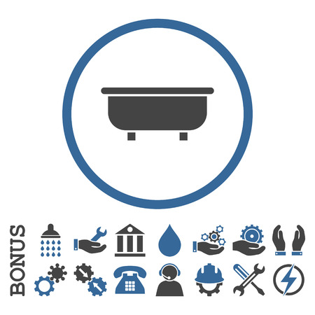 bathtub: Bathtub vector bicolor icon. Image style is a flat pictogram symbol inside a circle, cobalt and gray colors, white background. Bonus images are included.