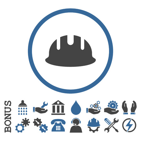 hardhat: Builder Hardhat vector bicolor icon. Image style is a flat pictogram symbol inside a circle, cobalt and gray colors, white background. Bonus images are included. Illustration