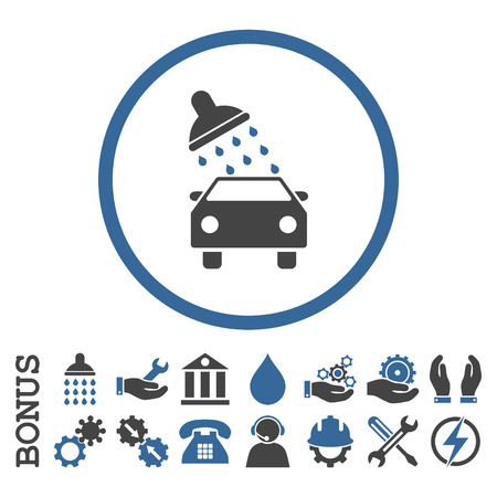 antiseptic: Car Wash vector bicolor icon. Image style is a flat pictogram symbol inside a circle, cobalt and gray colors, white background. Bonus images are included.