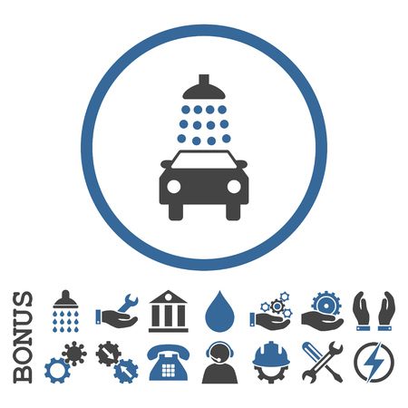 sanitize: Car Wash vector bicolor icon. Image style is a flat pictogram symbol inside a circle, cobalt and gray colors, white background. Bonus images are included.
