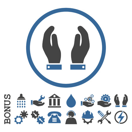 cobalt: Care Hands vector bicolor icon. Image style is a flat pictogram symbol inside a circle, cobalt and gray colors, white background. Bonus images are included.