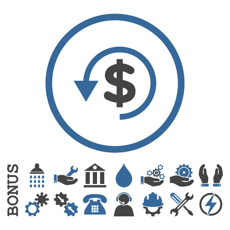 moneyback: Chargeback vector bicolor icon. Image style is a flat pictogram symbol inside a circle, cobalt and gray colors, white background. Bonus images are included.