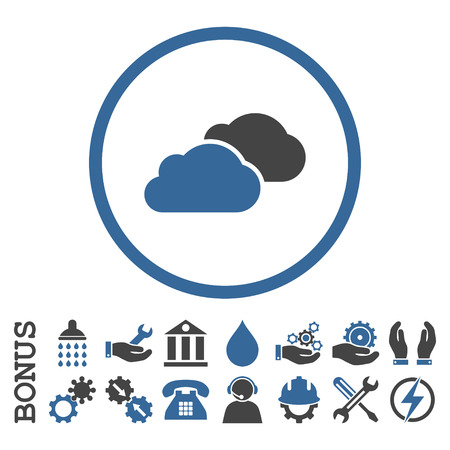 saas: Clouds vector bicolor icon. Image style is a flat pictogram symbol inside a circle, cobalt and gray colors, white background. Bonus images are included.