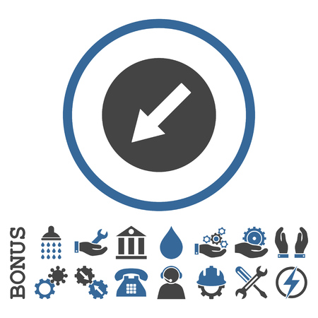cobalt: Down-Left Rounded Arrow vector bicolor icon. Image style is a flat pictogram symbol inside a circle, cobalt and gray colors, white background. Bonus images are included.