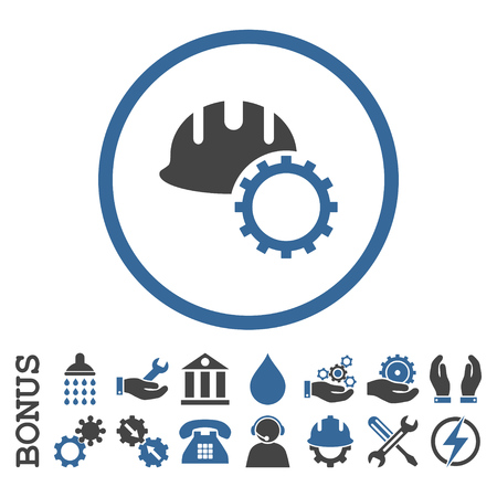 hardhat icon: Development Hardhat vector bicolor icon. Image style is a flat pictogram symbol inside a circle, cobalt and gray colors, white background. Bonus images are included.