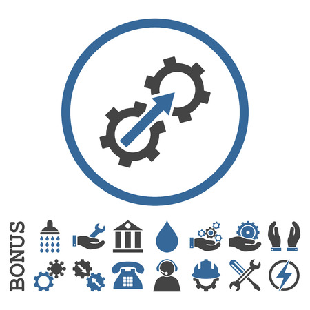 cobalt: Gear Integration vector bicolor icon. Image style is a flat pictogram symbol inside a circle, cobalt and gray colors, white background. Bonus images are included. Illustration