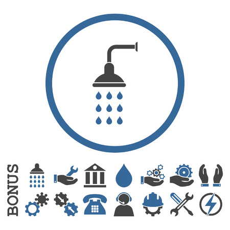 disinfectant: Shower vector bicolor icon. Image style is a flat pictogram symbol inside a circle, cobalt and gray colors, white background. Bonus images are included.