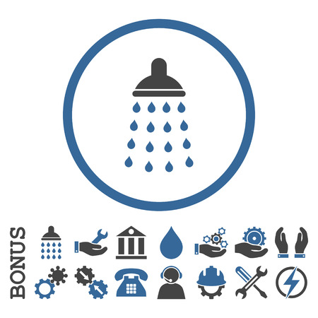 cobalt: Shower vector bicolor icon. Image style is a flat pictogram symbol inside a circle, cobalt and gray colors, white background. Bonus images are included.