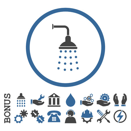 sanitize: Shower vector bicolor icon. Image style is a flat pictogram symbol inside a circle, cobalt and gray colors, white background. Bonus images are included.
