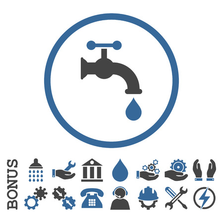 aqueduct: Water Tap vector bicolor icon. Image style is a flat pictogram symbol inside a circle, cobalt and gray colors, white background. Bonus images are included.