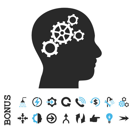 invent clever: Brain Gears vector bicolor icon. Image style is a flat pictogram symbol, blue and gray colors, white background.