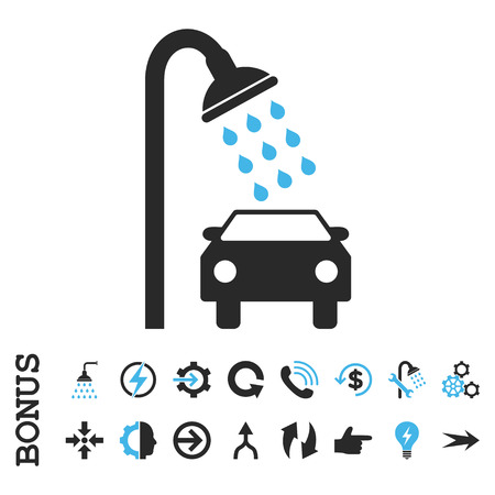 disinfectant: Car Shower vector bicolor icon. Image style is a flat iconic symbol, blue and gray colors, white background. Illustration