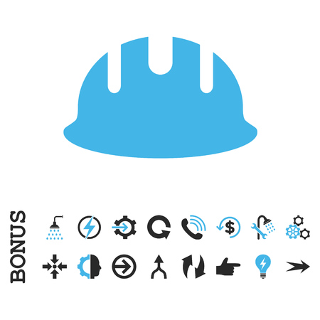 hardhat: Builder Hardhat vector bicolor icon. Image style is a flat pictogram symbol, blue and gray colors, white background.