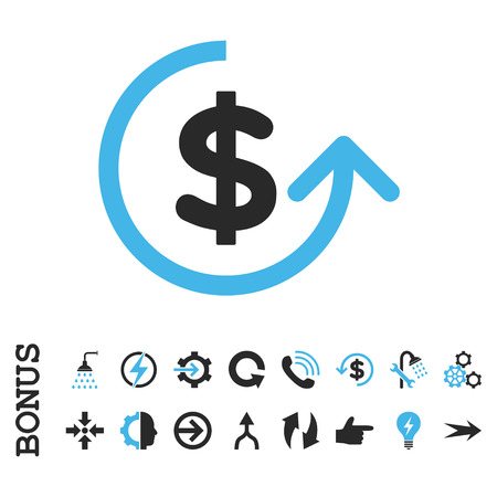 moneyback: Chargeback vector bicolor icon. Image style is a flat pictogram symbol, blue and gray colors, white background.