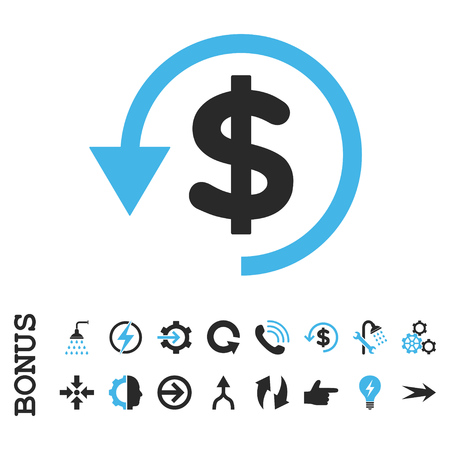 moneyback: Chargeback vector bicolor icon. Image style is a flat iconic symbol, blue and gray colors, white background. Illustration