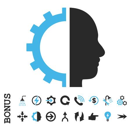 config: Cyborg Gear vector bicolor icon. Image style is a flat pictogram symbol, blue and gray colors, white background. Illustration