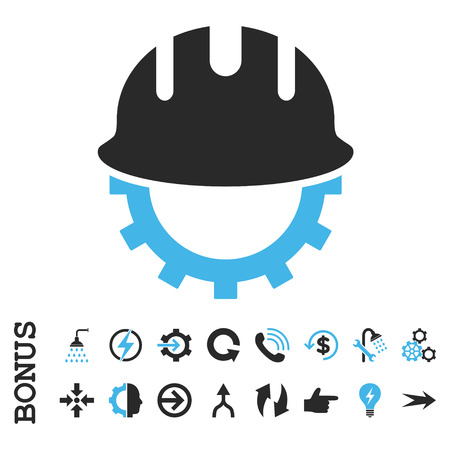 hardhat icon: Development Hardhat vector bicolor icon. Image style is a flat pictogram symbol, blue and gray colors, white background. Illustration