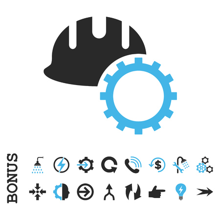 hardhat: Development Hardhat vector bicolor icon. Image style is a flat pictogram symbol, blue and gray colors, white background. Illustration