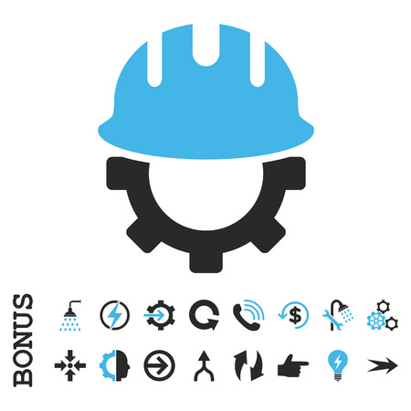 hardhat icon: Development Hardhat vector bicolor icon. Image style is a flat iconic symbol, blue and gray colors, white background. Illustration