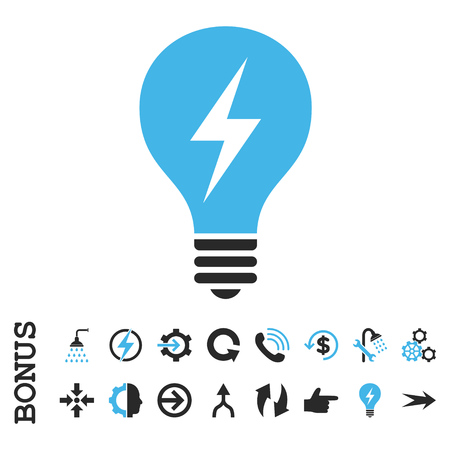electric blue: Electric Bulb vector bicolor icon. Image style is a flat pictogram symbol, blue and gray colors, white background.