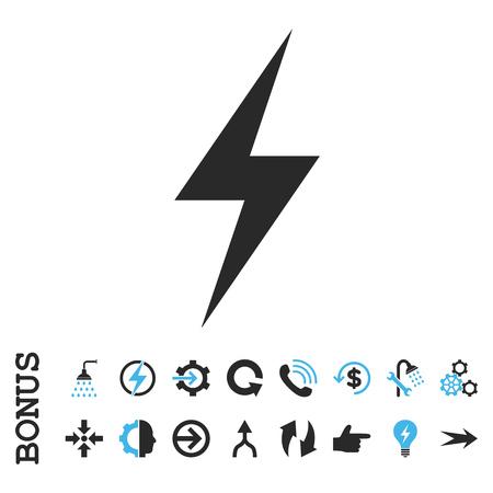 vector de la electricidad icono bicolor. estilo de la imagen es un símbolo pictograma plana, colores azul y gris, fondo blanco.
