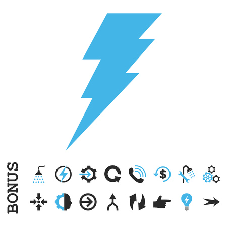 execute: Execute vector bicolor icon. Image style is a flat iconic symbol, blue and gray colors, white background.