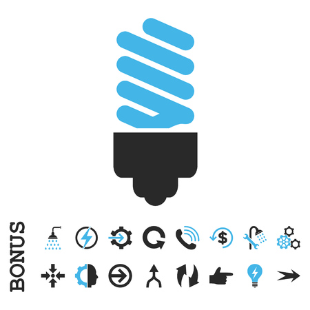 halogen: Fluorescent Bulb vector bicolor icon. Image style is a flat iconic symbol, blue and gray colors, white background. Illustration