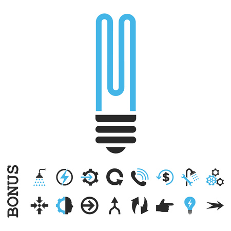 halogen: Fluorescent Bulb vector bicolor icon. Image style is a flat pictogram symbol, blue and gray colors, white background.