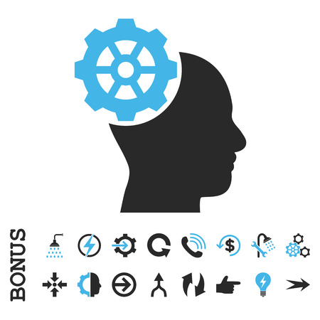 head gear: Head Gear vector bicolor icon. Image style is a flat iconic symbol, blue and gray colors, white background.