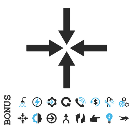 shrink: Impact Arrows vector bicolor icon. Image style is a flat iconic symbol, blue and gray colors, white background. Illustration