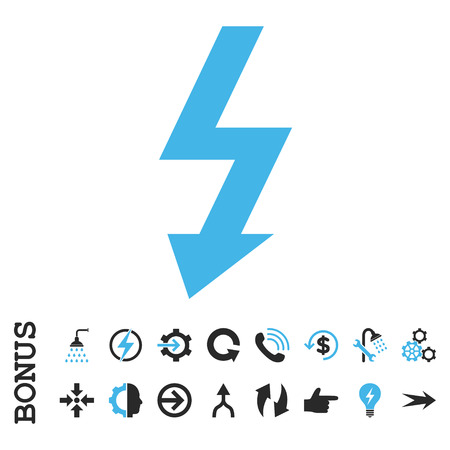 voltage gray: High Voltage vector bicolor icon. Image style is a flat pictogram symbol, blue and gray colors, white background.