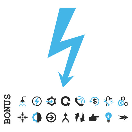 voltage gray: High Voltage vector bicolor icon. Image style is a flat iconic symbol, blue and gray colors, white background. Illustration