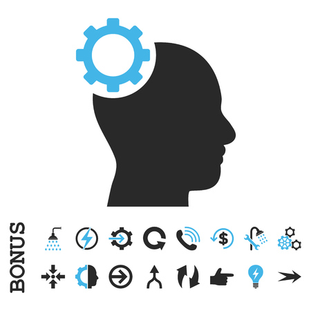 intellect: Intellect Gear vector bicolor icon. Image style is a flat pictogram symbol, blue and gray colors, white background. Illustration
