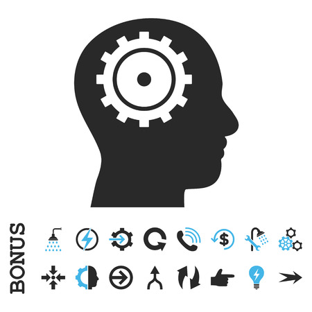 intellect: Intellect vector bicolor icon. Image style is a flat pictogram symbol, blue and gray colors, white background. Illustration